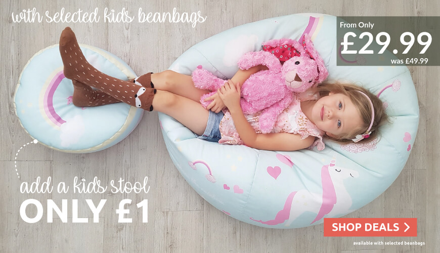 Add a kids stool for just £1, available on selected kids beanbags