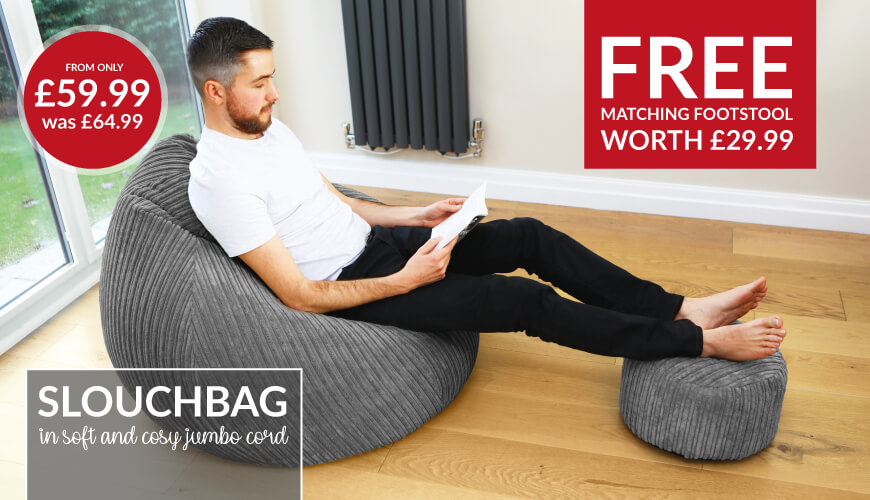 Jumbo Cord Slouchbag with Free matching footstool