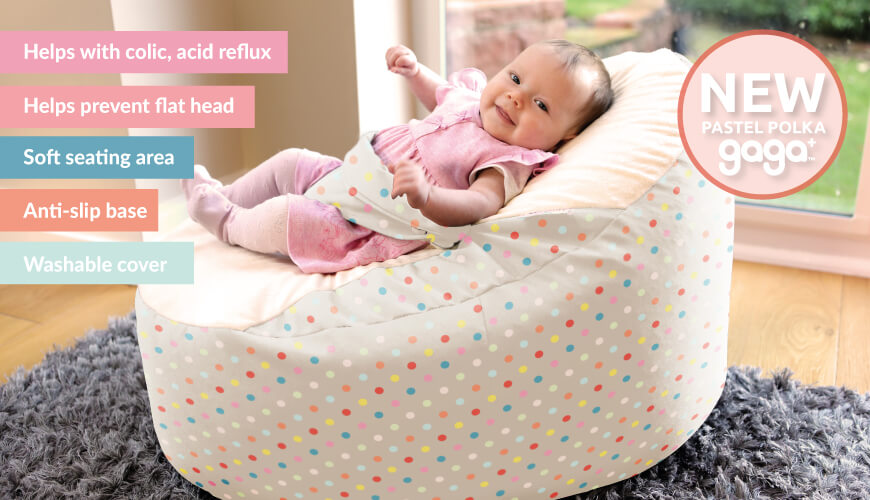 New for Spring, Pastel Polka Dot gaga+ baby beanbag