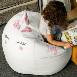 Brilliant 3D Kids Unicorn Beanbag Medium Platinum Machost Co Dining Chair Design Ideas Machostcouk