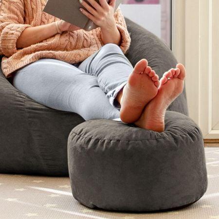 Faux Suede Footstool in Slate Grey