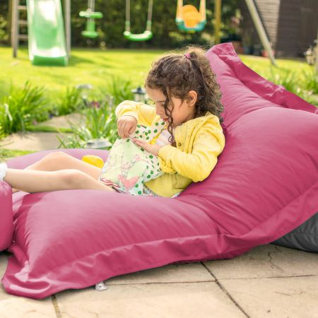 Indoor Outdoor Large Squashy Squarbie Beanbag in Cerise Pink
