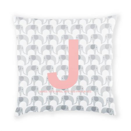 Personalised Elephant Cushion - Coral