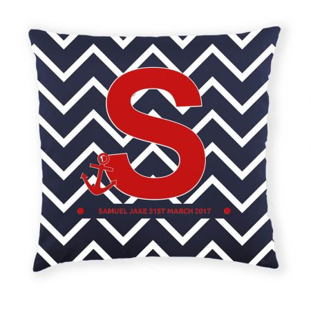 Personalised Sailor Cushion Front View in Navy and Red
