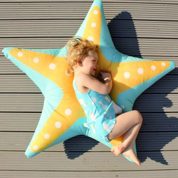 Kids starfish floor cushion outdoors