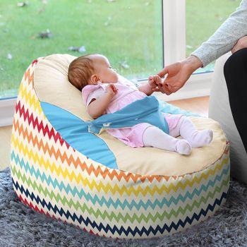 Rainbow Chevron Gaga + Baby Beanbag - Turqouise