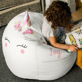 3D Kids Unicorn Beanbag - Medium Platinum