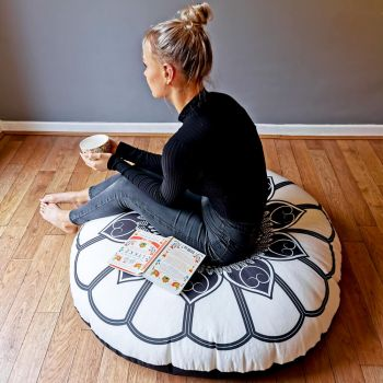 Black and Cream Mandala Floor Cushion - Indoor/Outdoor