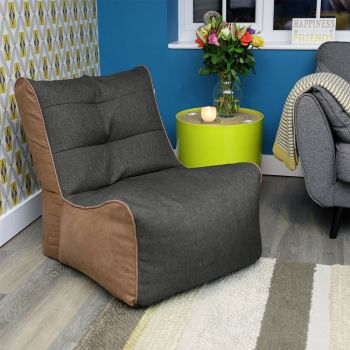 Charcoal Barley and Faux Leather Busby Chair