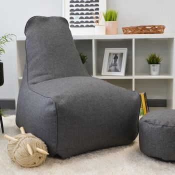 Raja Bean Bag Chair in Charcoal Grey Barley