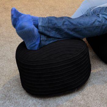 Black Jumbo Cord Footstools