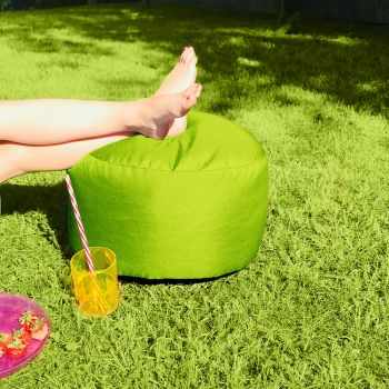 Bigger and Better Indoor/Outdoor Round Lime Green Footstool
