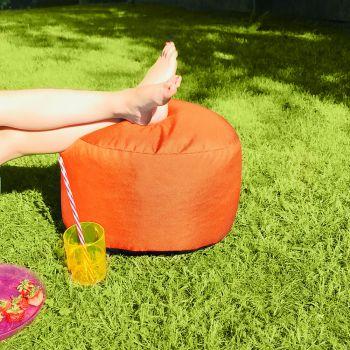 Bigger and Better Indoor/Outdoor Round Orange Footstool