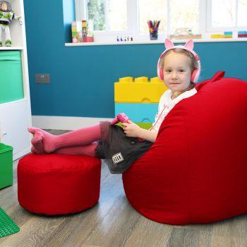 Kids Bean Bag Stool - Indoor/Outdoor - Red