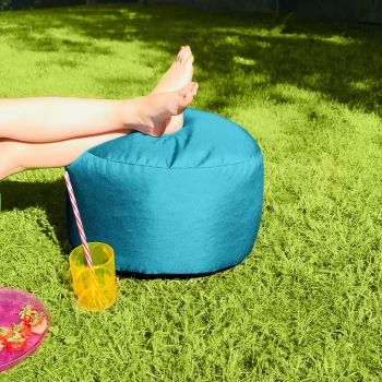Bigger and Better Indoor/Outdoor Round Turquoise Footstool