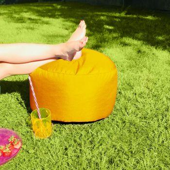 Bigger and Better Indoor/Outdoor Round Yellow Footstool