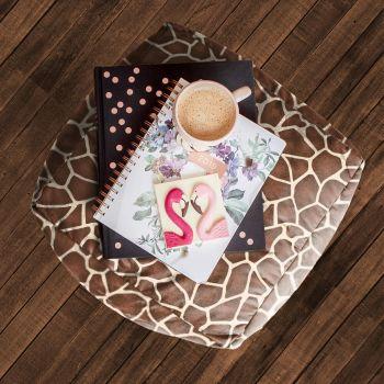 Faux Suede Giraffe Animal Print Beanbag Cube