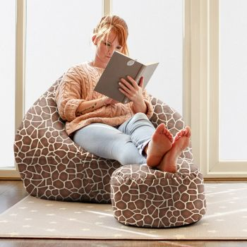 Faux Suede Giraffe Animal Print Slouchbag Bean Bag