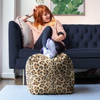 Faux Suede Leopard Animal Print Beanbag Cube