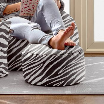 Zebra Bigger and Better Luxury Faux Suede Animal Print Round Footstool