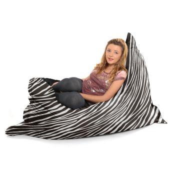 Zebra Luxury Faux Suede Animal Print Squashy Squarbie© Extra Large Beanbag
