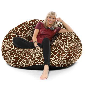Luxury Faux Suede Animal Print Extra Extra Large Goliath© Bean bag-Giraffe