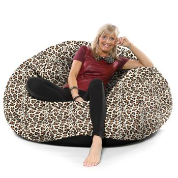 Luxury Faux Suede Animal Print Extra Extra Large Goliath© Bean bag-Snow Leopard