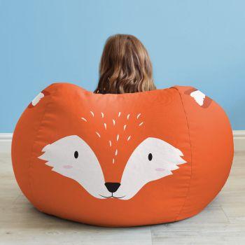Kids Fox Animal Bean Bag - Face