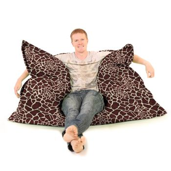 Luxury Faux Suede Animal Print Squashy Squarbie© Beanbag - Giraffe