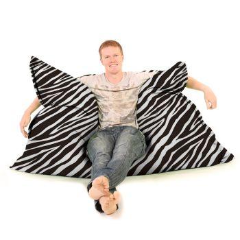 Luxury Faux Suede Animal Print Squashy Squarbie© Beanbag - Zebra