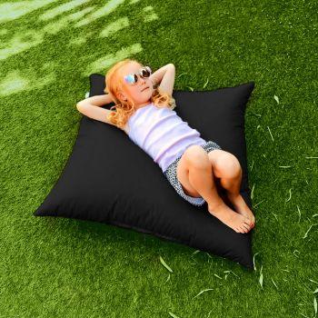 Indoor/Outdoor Black Square Floor Cushion
