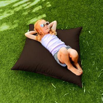 Indoor/Outdoor Chocolate Square Floor Cushion