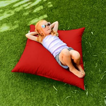 Indoor/Outdoor Red Square Floor Cushion