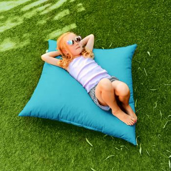 Indoor/Outdoor Turquoise Square Floor Cushion