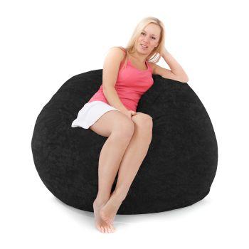 Black Jumbo Cord Foam Bean bag with Double Mattress Inner