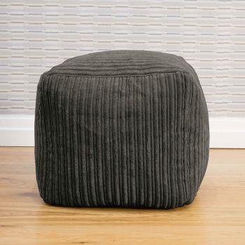 Slate Jumbo Cord 40 x 40 cm Cube Beanbag