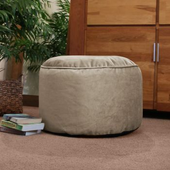 Velvet Pouffe in Platinum