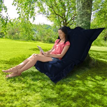 Indoor/Outdoor Giant Squashy Squarbie Beanbag in Navy Blue