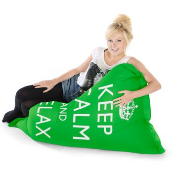 Green Junior Keep Calm Squashy Squarbie Bean Bag Adult Beanbags
