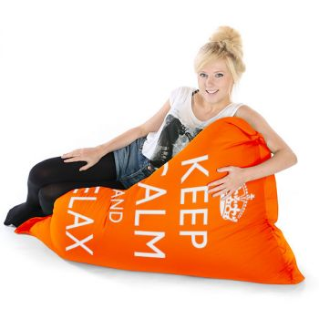 Orange Junior Keep Calm Squashy Squarbie Bean Bag Adult Beanbags