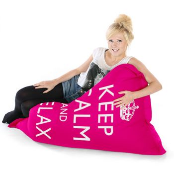 Pink Junior Keep Calm Squashy Squarbie Bean Bag Adult Beanbags