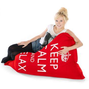 Red Junior Keep Calm Squashy Squarbie Bean Bag Adult Beanbags