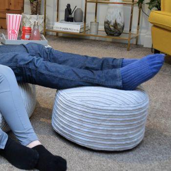 Platinum grey jumbo cord footstool