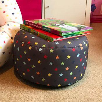 Rainbow Star Kids Bean Bag Stool - Charcoal
