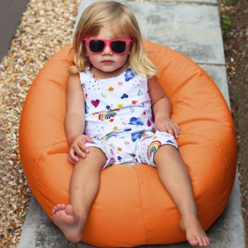Small Kids Indoor/Outdoor Beanbag in Orange