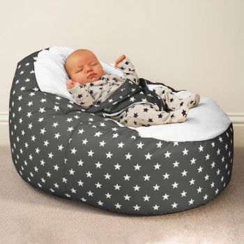 Gaga+ Baby Beanbag Charcoal with Stars Pattern