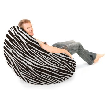 Zebra Luxury Faux Suede Animal Print Jumbo Flob A Dob© Bean Bag