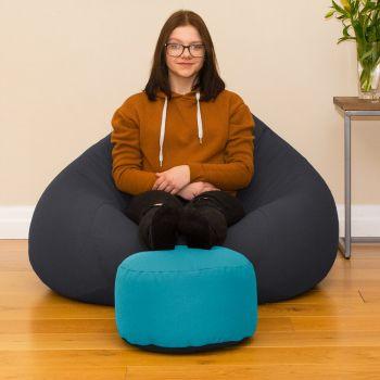 Bigger Better Comfy Round Aquamarine Footstool