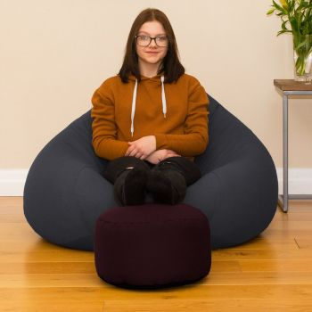 Bigger Better Comfy Round Aubergine Footstool