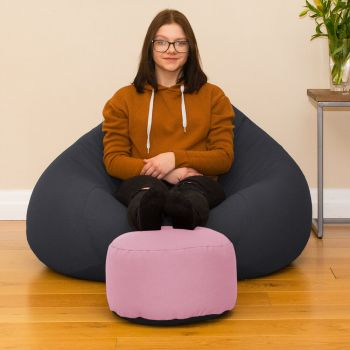 Baby Pink Bigger Better Round Footstool Beanbag